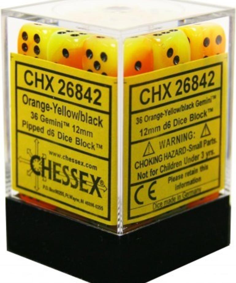 Chessex - CHX 36-die 12mm d6 Set Orange-Yellow w/black Gemini