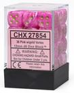 Chessex - CHX 36-die 12mm d6 Set Pink w/gold Vortex