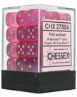 Chessex - CHX 36-die 12mm d6 Set Pink w/silver Borealis