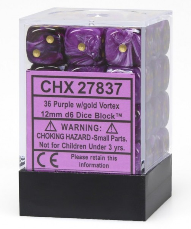Chessex - CHX 36-die 12mm d6 Set Purple w/gold Vortex