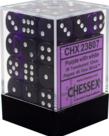 Chessex - CHX 36-die 12mm d6 Set Purple w/white Translucent