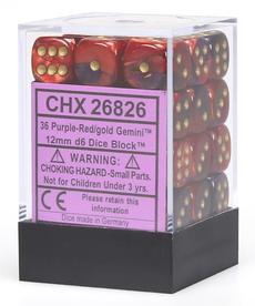 Chessex - CHX 36-die 12mm d6 Set Purple-Red w/white Gemini