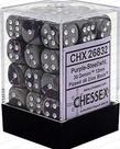 Chessex - CHX 36-die 12mm d6 Set Purple-Steel w/white Gemini