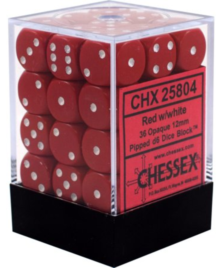 Chessex - CHX 36-die 12mm d6 Set Red w/white Opaque