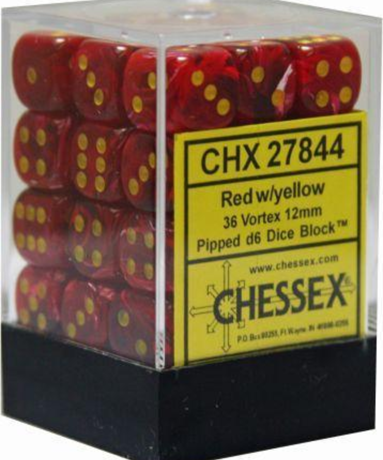 Chessex - CHX 36-die 12mm d6 Set Red w/yellow Vortex