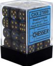 Chessex - CHX 36-die 12mm d6 Set Shadow w/gold Lustrous