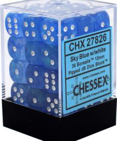 Chessex - CHX CLEARANCE - 36-die 12mm d6 Set Sky Blue w/ white Borealis