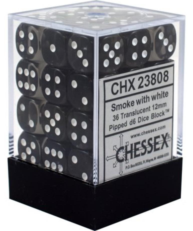 Chessex - CHX 36-die 12mm d6 Set Smoke w/white Translucent