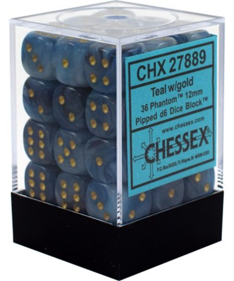Chessex - CHX 36-die 12mm d6 Set Teal w/gold Phantom