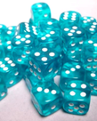 Chessex - CHX 36-die 12mm d6 Set Teal w/white Translucent