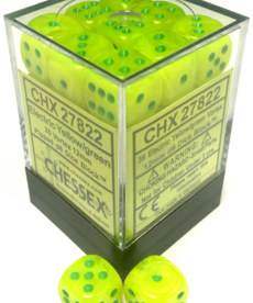 Chessex - CHX CLEARANCE - 36-die 12mm d6 Set Vortex Electric Yellow w/ Green