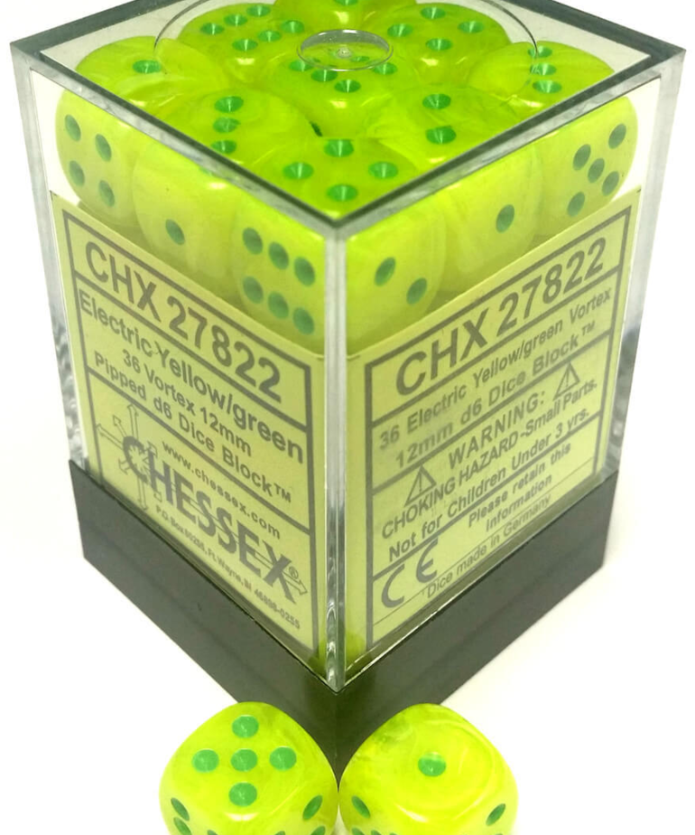 Chessex - CHX 36-die 12mm d6 Set Vortex Electric Yellow w/ Green