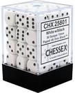 Chessex - CHX 36-die 12mm d6 Set White w/black Opaque