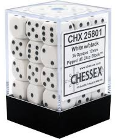 Chessex - CHX 36-die 12mm d6 Set White w/black Opaque