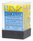 Chessex - CHX 36-die 12mm d6 Set Yellow w/blue Vortex