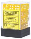 Chessex - CHX 36-die 12mm d6 Set Yellow w/white Translucent