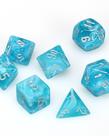 Chessex - CHX 7-Die Polyhedral Set Aqua w/ silver Cirrus
