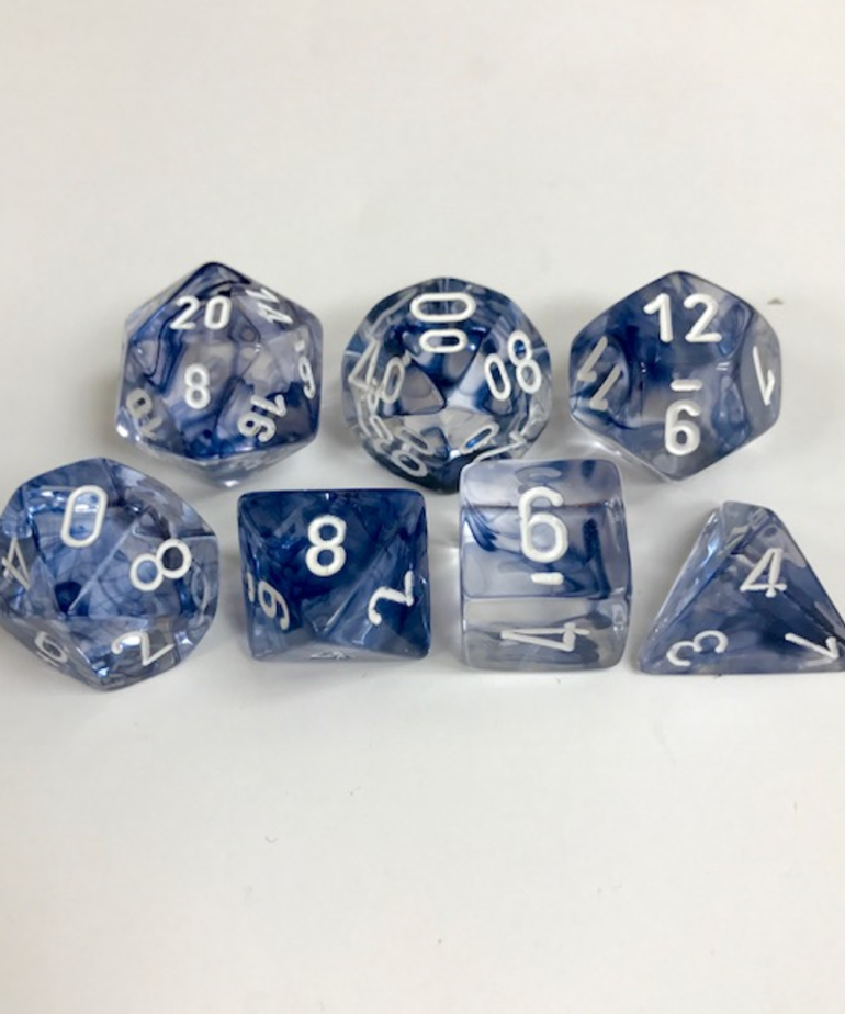 Chessex - CHX 7-Die Polyhedral Set Black w/white Nebula