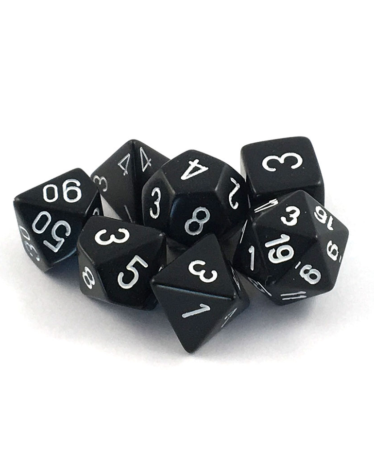 Chessex - CHX 7-Die Polyhedral Set Black w/white Opaque