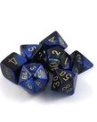 Chessex - CHX 7-Die Polyhedral Set Black-Blue w/gold Gemini