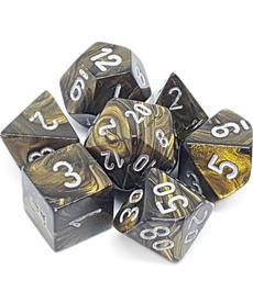 Chessex - CHX 7-Die Polyhedral Set Black-Gold w/silver Leaf