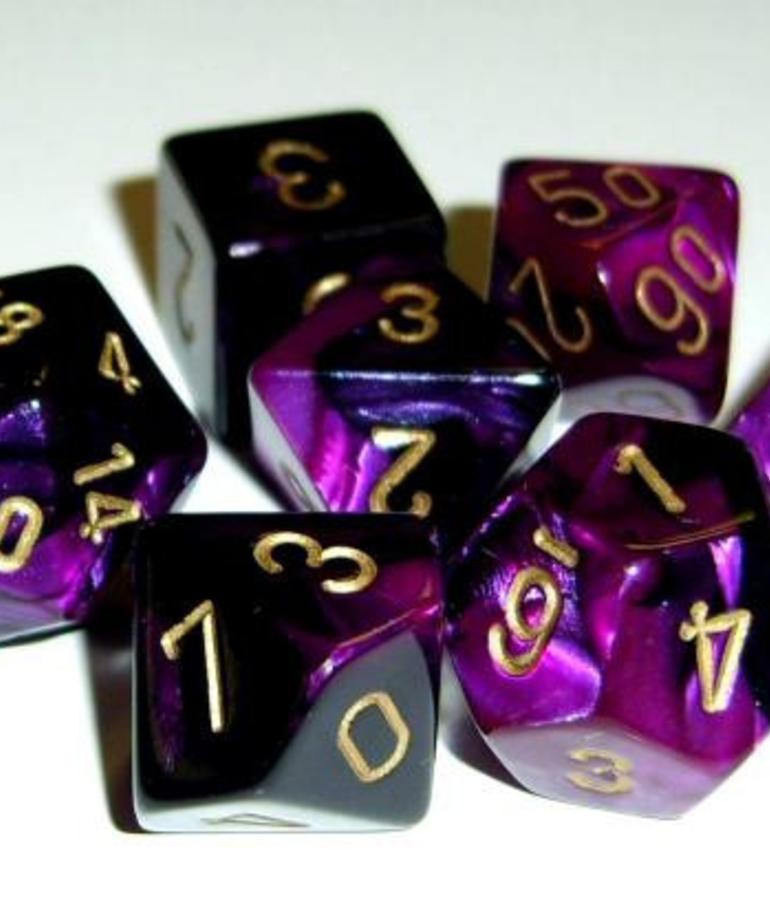 Chessex - CHX 7-Die Polyhedral Set Black-Purple w/gold Gemini