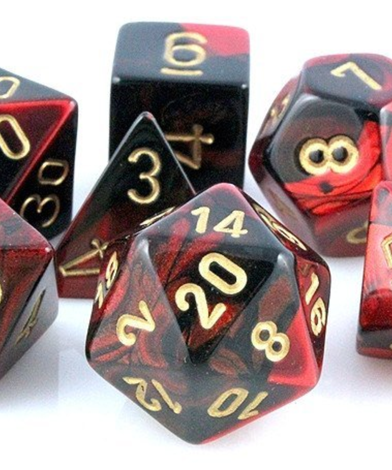 Chessex - CHX 7-Die Polyhedral Set Black-Red w/gold Gemini