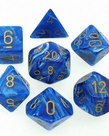 Chessex - CHX 7-Die Polyhedral Set Blue w/gold Vortex