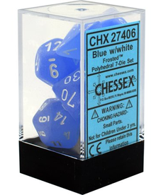 Chessex - CHX 7-Die Polyhedral Set Blue w/white Frosted