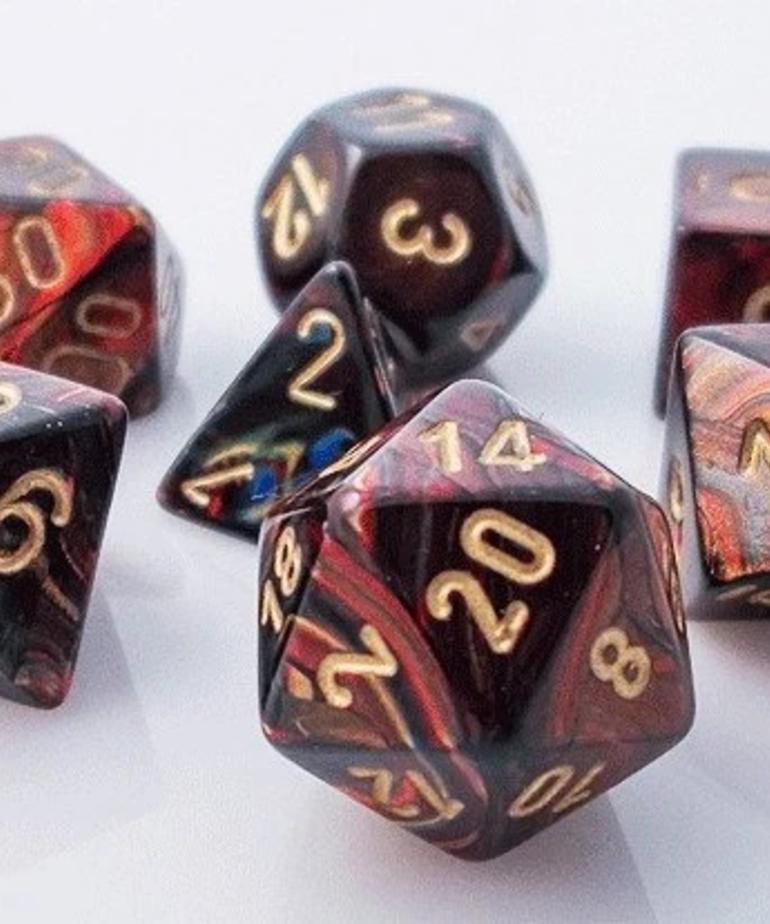 Chessex - CHX 7-Die Polyhedral Set Blue-Blood w/gold Scarab