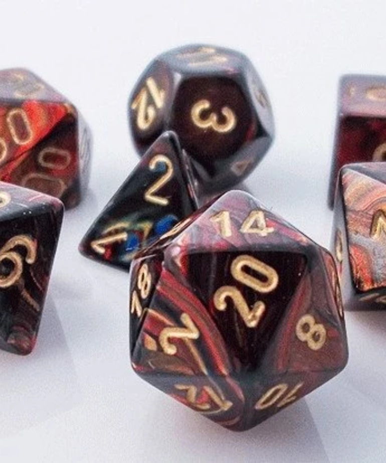 Chessex - CHX CLEARANCE - 7-Die Polyhedral Set Blue-Blood w/gold Scarab