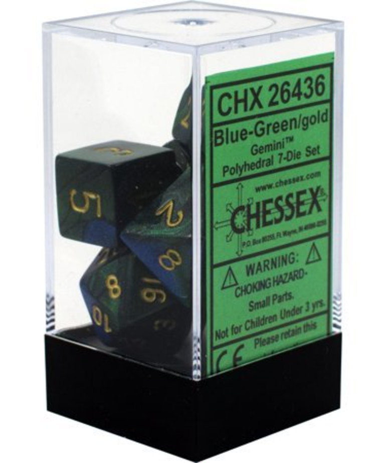 Chessex - CHX 7-Die Polyhedral Set Blue-Green w/gold Gemini