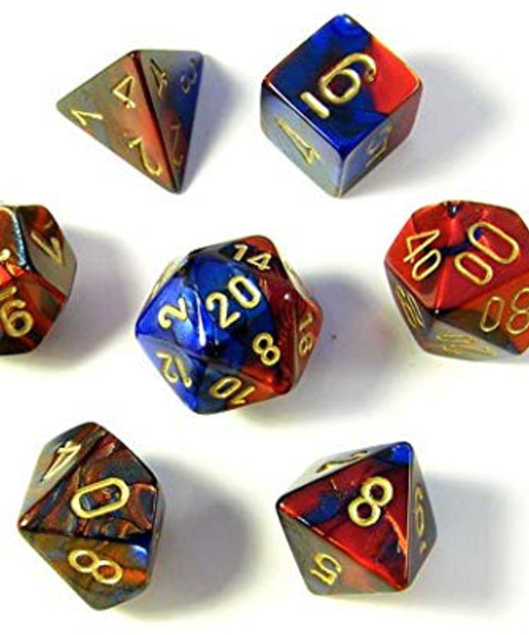 Chessex - CHX CLEARANCE - 7-Die Polyhedral Set Blue-Red w/gold Gemini