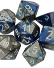 Chessex - CHX 7-Die Polyhedral Set Blue-Silver w/white Gemini