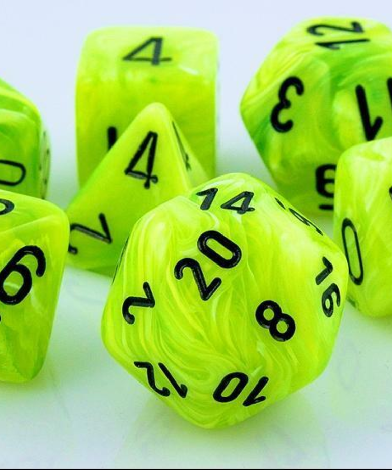 Chessex - CHX 7-Die Polyhedral Set Bright Green w/black Vortex
