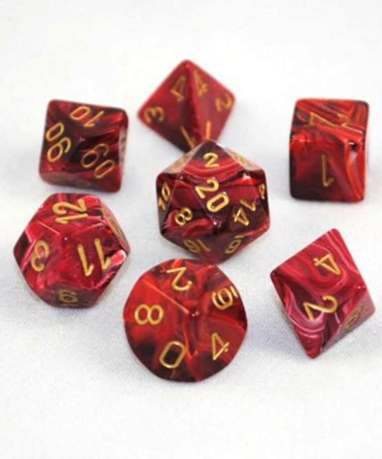 Chessex - CHX 7-Die Polyhedral Set Burgundy w/gold Vortex