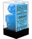 Chessex - CHX 7-Die Polyhedral Set Caribbean Blue w/white Frosted