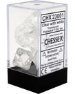 Chessex - CHX 7-Die Polyhedral Set Clear w/white Translucent