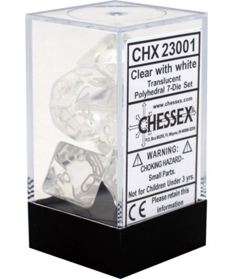 Chessex - CHX 7-Die Polyhedral Set Clear w/white Translucent