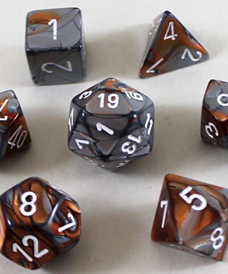 Chessex - CHX 7-Die Polyhedral Set Copper-Steel w/white Gemini