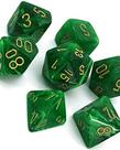 Chessex - CHX 7-Die Polyhedral Set Green w/gold Vortex