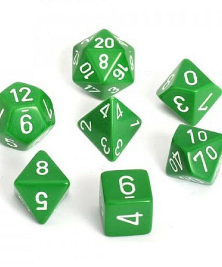 Chessex - CHX 7-Die Polyhedral Set Green w/white Opaque