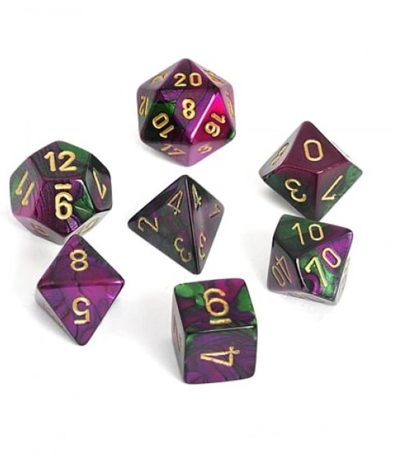 Chessex - CHX 7-Die Polyhedral Set Green-Purple w/gold Gemini
