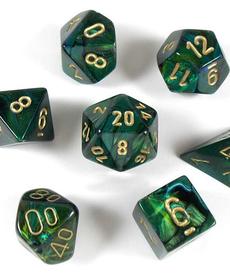 Chessex - CHX 7-Die Polyhedral Set Jade w/gold Scarab
