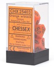 Chessex - CHX 7-Die Polyhedral Set Orange w/black Opaque