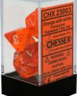 Chessex - CHX 7-Die Polyhedral Set Orange w/white Translucent
