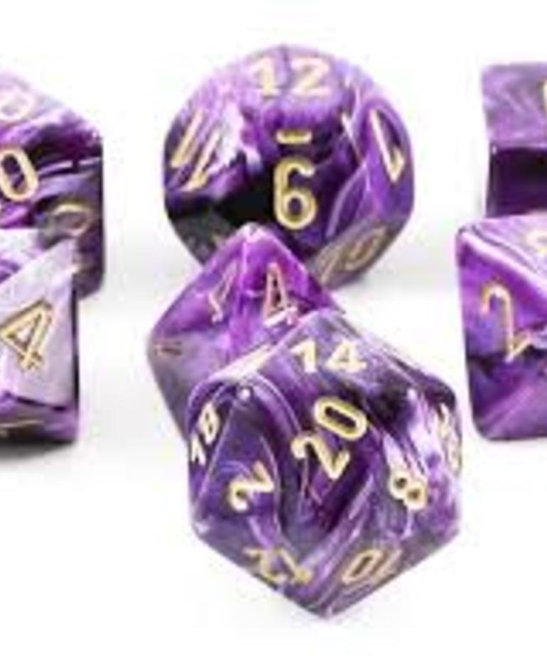 Chessex - CHX 7-Die Polyhedral Set Purple w/gold Vortex