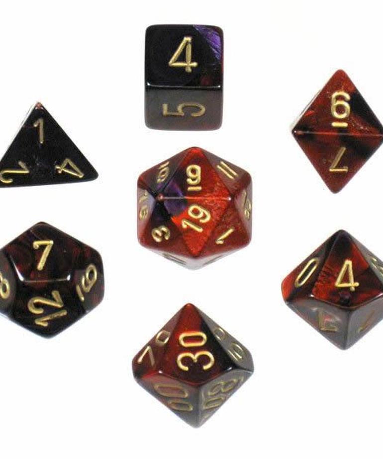 Chessex - CHX 7-Die Polyhedral Set Purple-Red w/gold Gemini