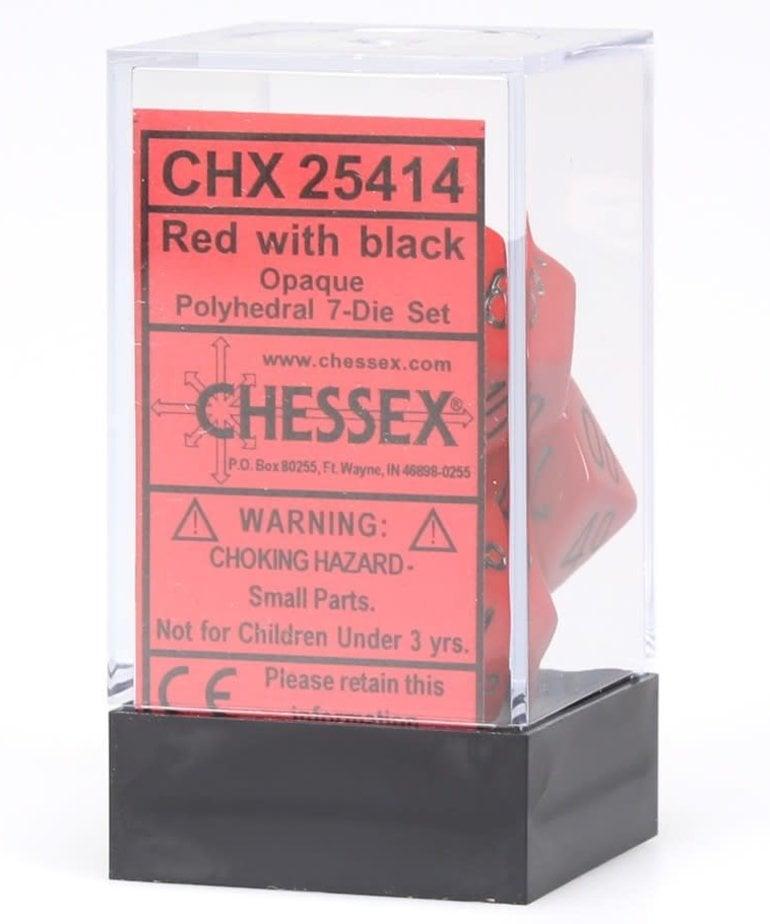 Chessex - CHX 7-Die Polyhedral Set -Red w/black: Opaque