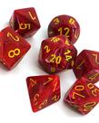 Chessex - CHX 7-Die Polyhedral Set Red w/yellow Vortex